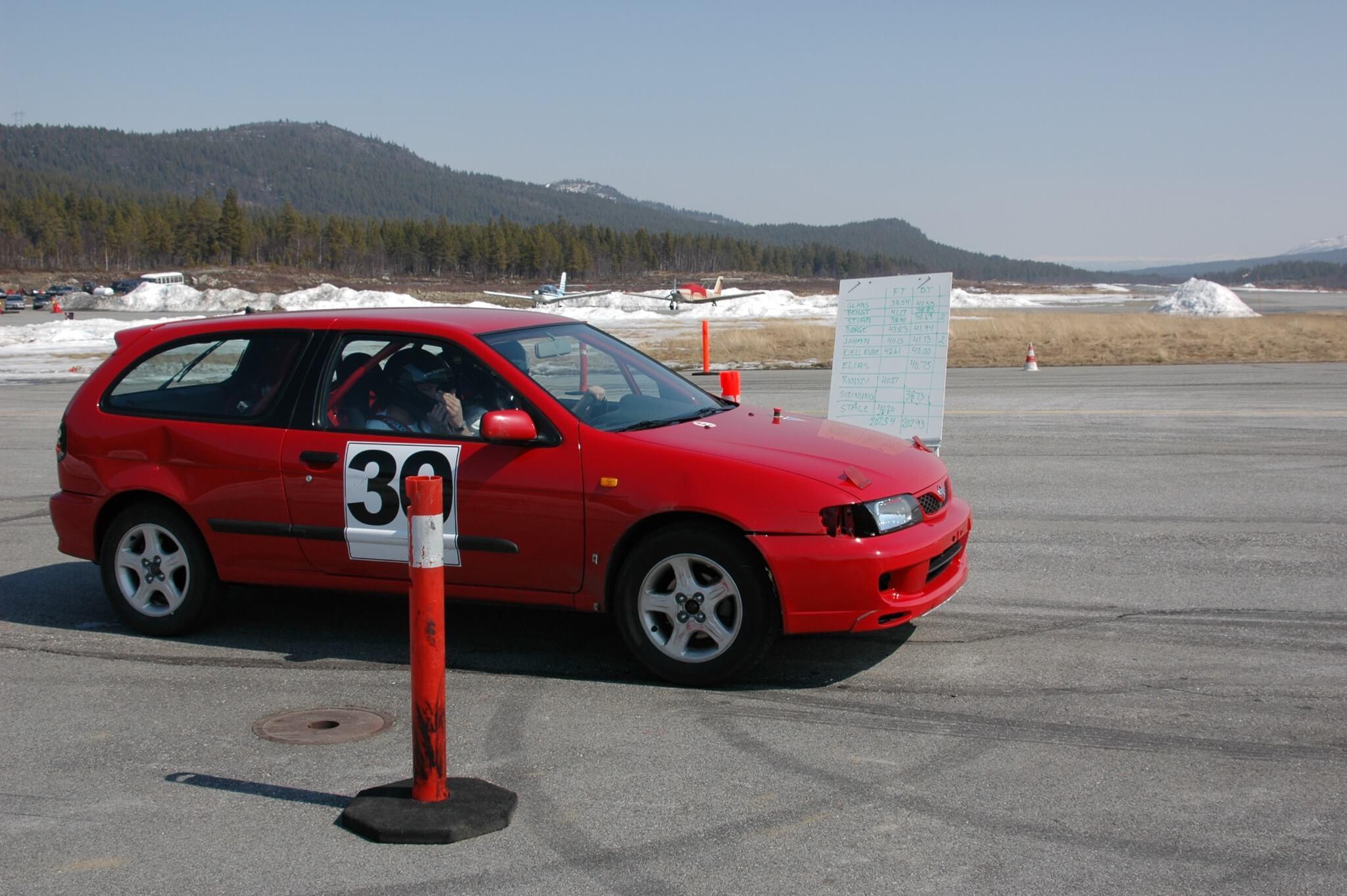 Bilslalom på Dagali Flyplass