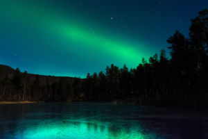 Nordlys over Aasbergtjønn i Dagali. Foto: Anne-Kristin Aasberg